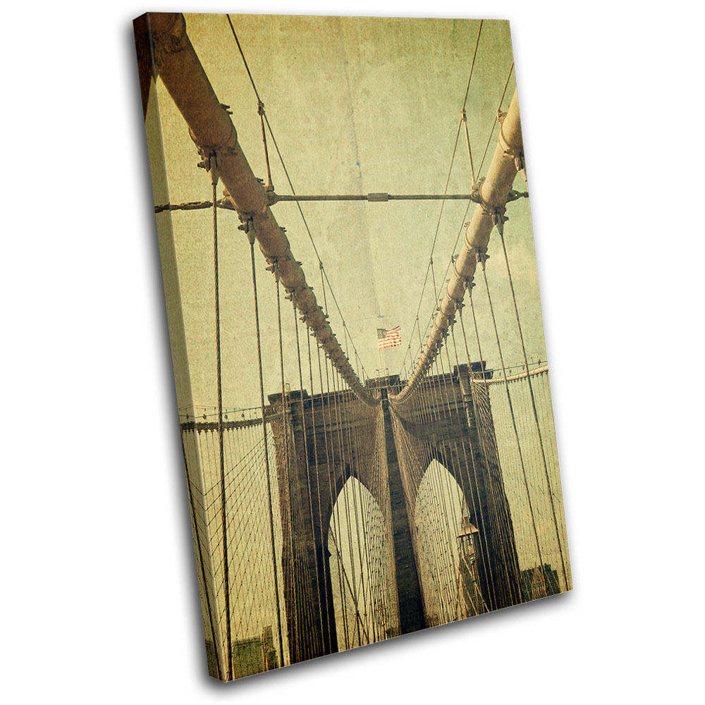 Brooklyn Bridge USA  pared Vintage SINGLE LONA pared  arte Foto impresion e791de