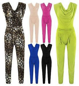 Womens-Leopard-Print-Jumpsuit-Ladies-Silky-Drape-Neck-Bodycon-Party-Trousers-Top