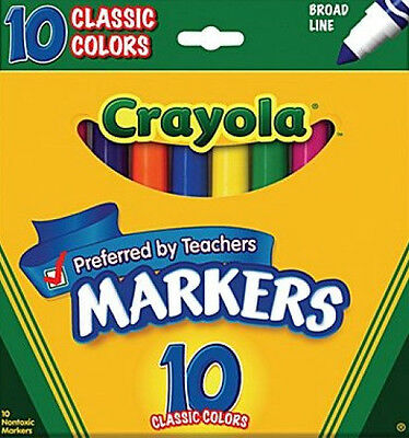 MARKERS~Set of 10 CLASSIC CRAYOLA  MARKERS-broad line