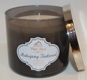 Details About Bath Body Works Mahogany Teakwood Scented Candle 3 Wick 14 5 Oz Large White Barn