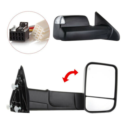 Pair Power Heated Towing Mirrors For 2009-15 Ram 1500 Pickup Signal Lights side