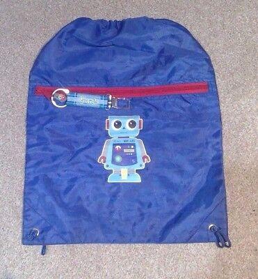 """""""george"""" Stringa Di Pareggio Robot Blu Borsa Per Bambini Bambino Boy's Bag Sac Ruc Sac-mostra Il Titolo Originale L'Ultima Moda"""