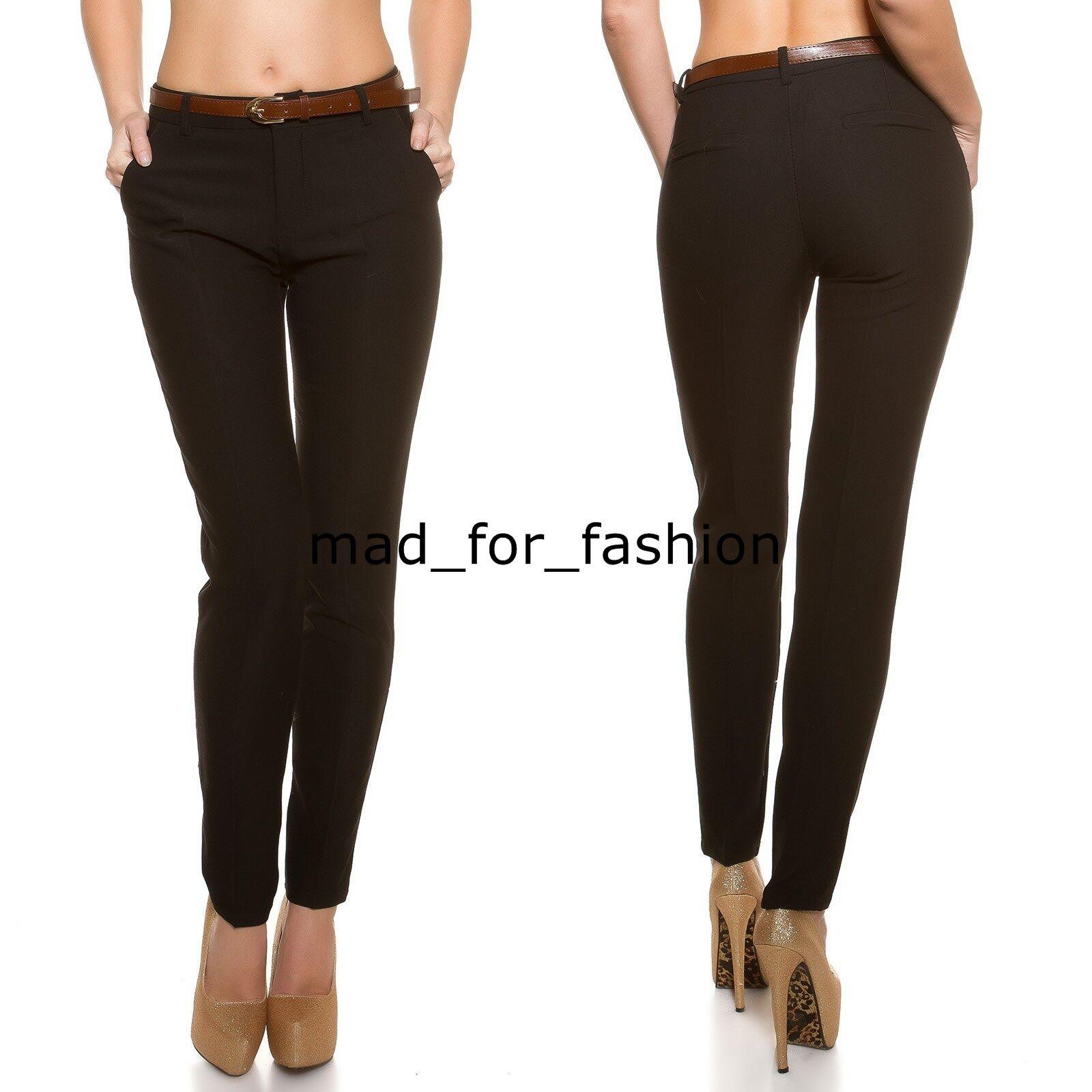 Sexy black Elegante Negocios Pantalones Con Cinturón GB; 8.10.12. EU ; 36.38.40