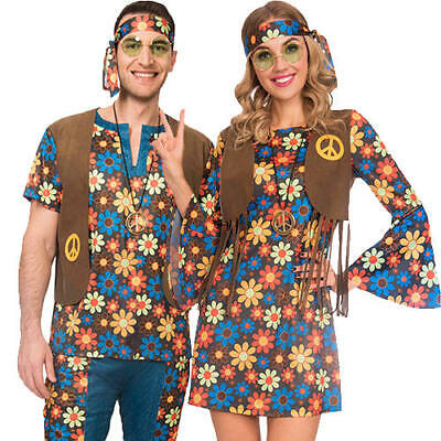 Gut Ausgebildete 60s Groovy Hippy Adults Fancy Dress 1960s Hippie Mens Ladies Couple Costumes