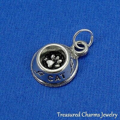 Silver CAT FOOD BOWL CHARM Kitten Animal Rescue Worker PENDANT *NEW*