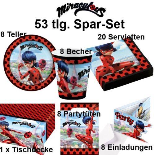 Ladyburg Miraculous 53 tlg Spar-Set Kinder Geburtstag Teller Becher Zubehör
