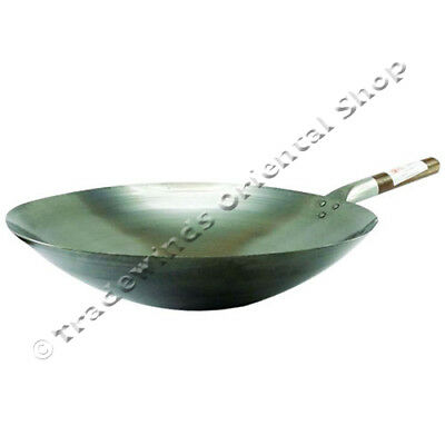 "Orderly Hancock London Wok 16"" Commercial Quality 40cm Round Based Carbon Steel Wok"