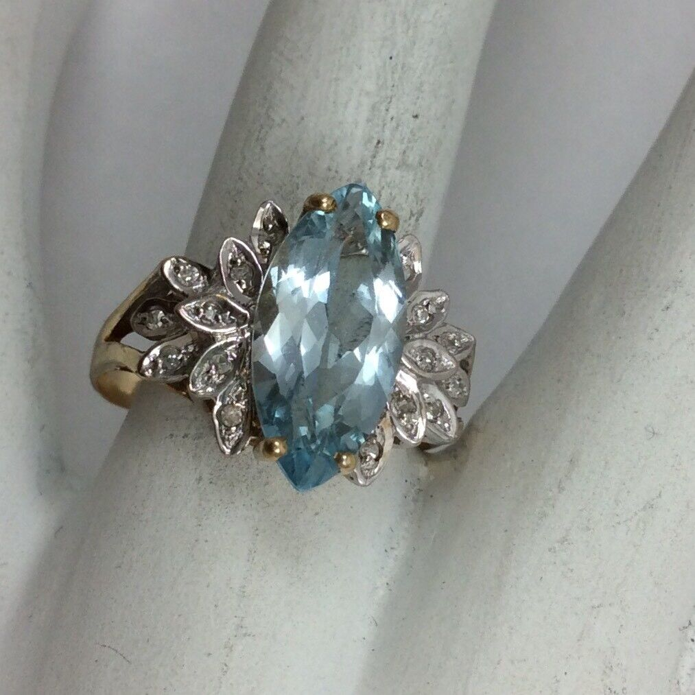 10K YELLOW gold DIAMOND blueE TOPAZ RING