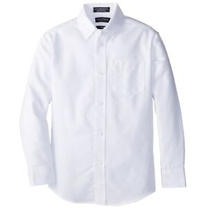 Nautica Boys' White Long-Sleeve Button-Down Shirt Size 14 Regular ...