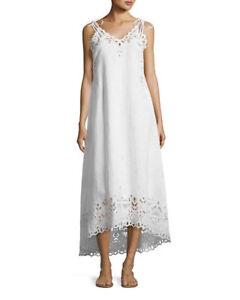 00418518ed21 Image is loading Theory-White-Taytee-Embroidery-Eyelet-Maxi-Slip-Dress-