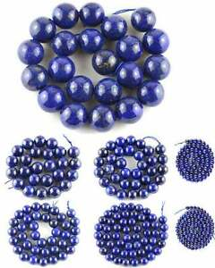 Lapis-Lazuli-Round-Gemstone-Beads-15-039-039-4mm-6mm-10mm-12mm-14mm-16mm-18mm