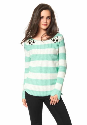 NEU!! Mit Strass-Steinen mint-ecru Streifen-Pullover AJC KP 45,99 € SALE
