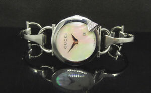 0f00abeaad8 Image is loading Gucci-YA122505-Chiodo-Diamond-Mother-of-Pearl-Dial-