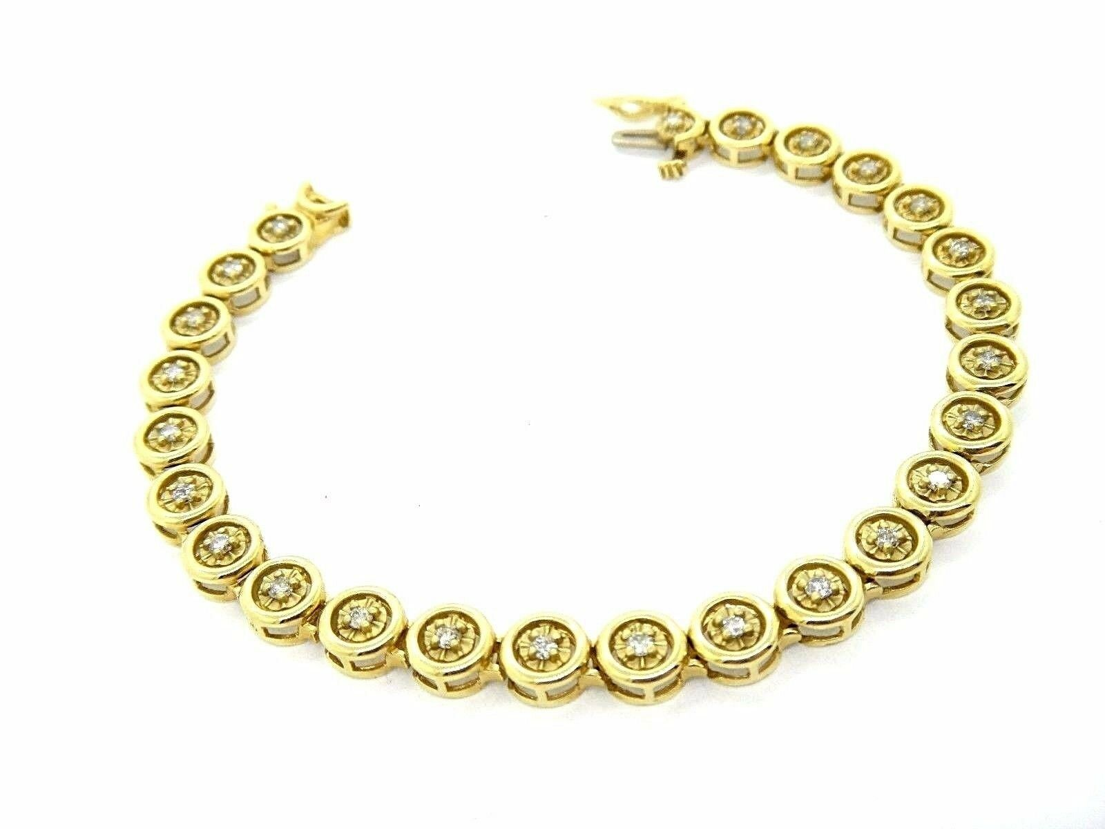 14k Yellow gold Beverly Hills Link Style Round Diamond Link Bracelet .75