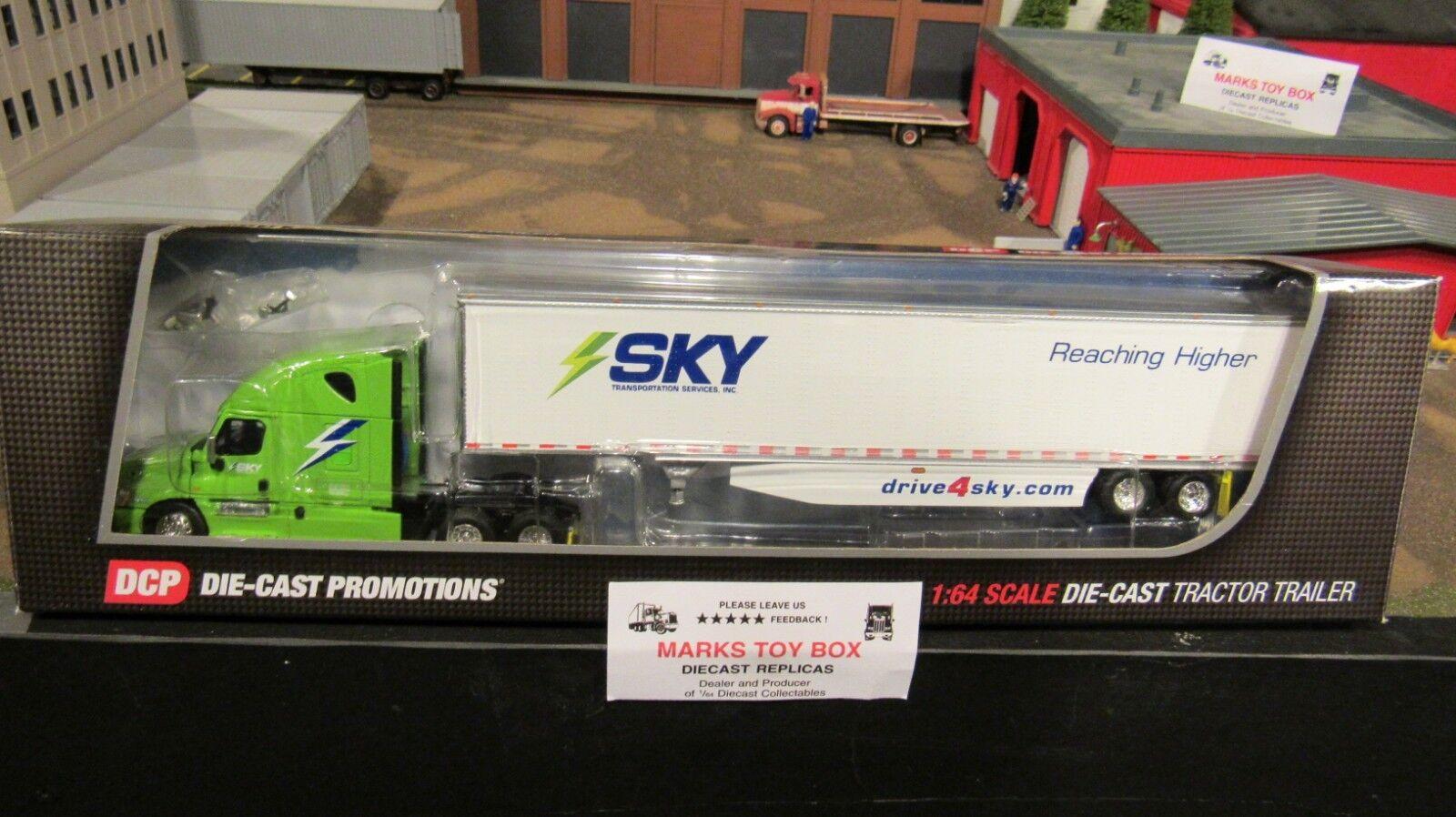 DCPcielo transporte FL Cascadia semi camión Dry Van Trailer 1 64 cl