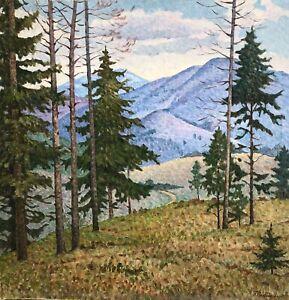 painting-art-Sabadysh-socrealism-vintage-decor-landscape-old-mountains-tree-old