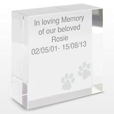 PERSONALISED DOG PET CAT MEMORIAL REMEMBRANCE KEEPSAKE CRYSTAL TOKEN GIFT IDEA