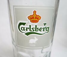 """CARLSBERG Vintage RABBIT 1999 Beer Grip GLASS MALAYSIA Asia Collect 5.25"""" Tall"""