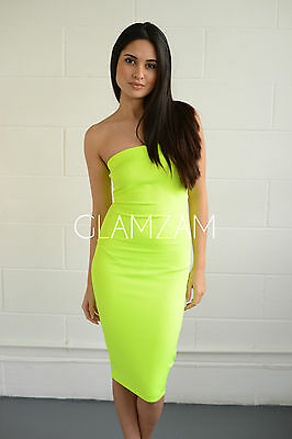 New womens ladies strapless boobtube midi bodycon neon lime party stretch dress