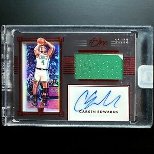 2019-20-Panini-One-and-One-Carsen-Edwards-Premium-Jersey-Auto-RED-RC-25-RPA