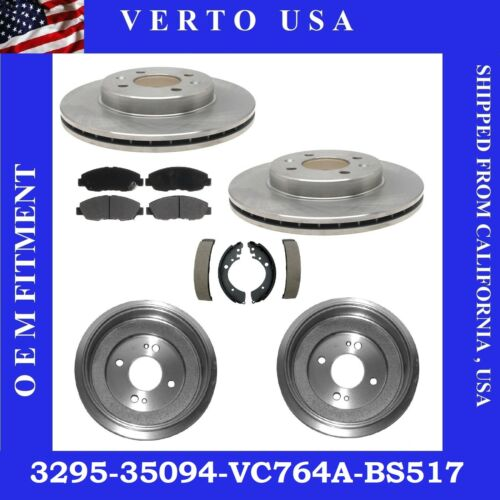 Pads Front Rear Brake Rotor Drum Shoes For Honda Civic 2001-2002-2003 to 2005