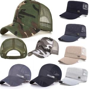 Men-Women-Baseball-Flat-Cap-Sunshade-Mesh-Back-Outdoor-Hunting-Military-Cool-Hat