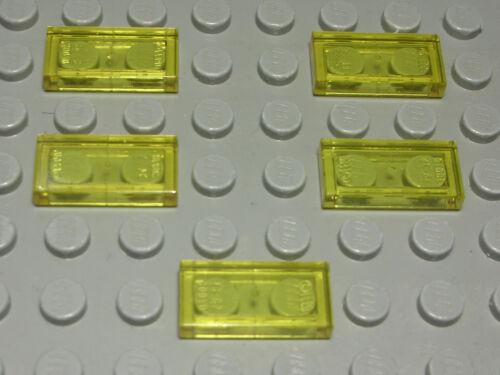 LEGO carreau-tuile 1x2 transparent jaune 5 pièces (1279 #)