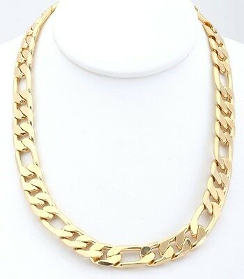 18kt Gold Plated 12mm Edge Cut Figaro Chain Link Necklace Lifetime Warranty