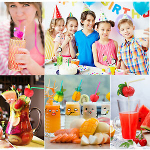 24 x Cocktail Umbrella Fruit Drinking Straws Hawaiian Birthday Hen Party Stags