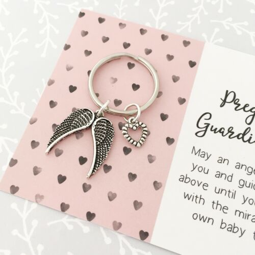 ideal baby shower gift! Mum-to-be pregnancy guardian angel wing keyring