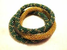 Set of 3 Green and Gold Roll on bracelets - Nepal Roll on bracelet, Golden