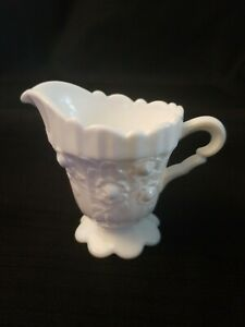 Fenton-Milk-Glass-Creamer-Cabbage-Rose-Pattern-White