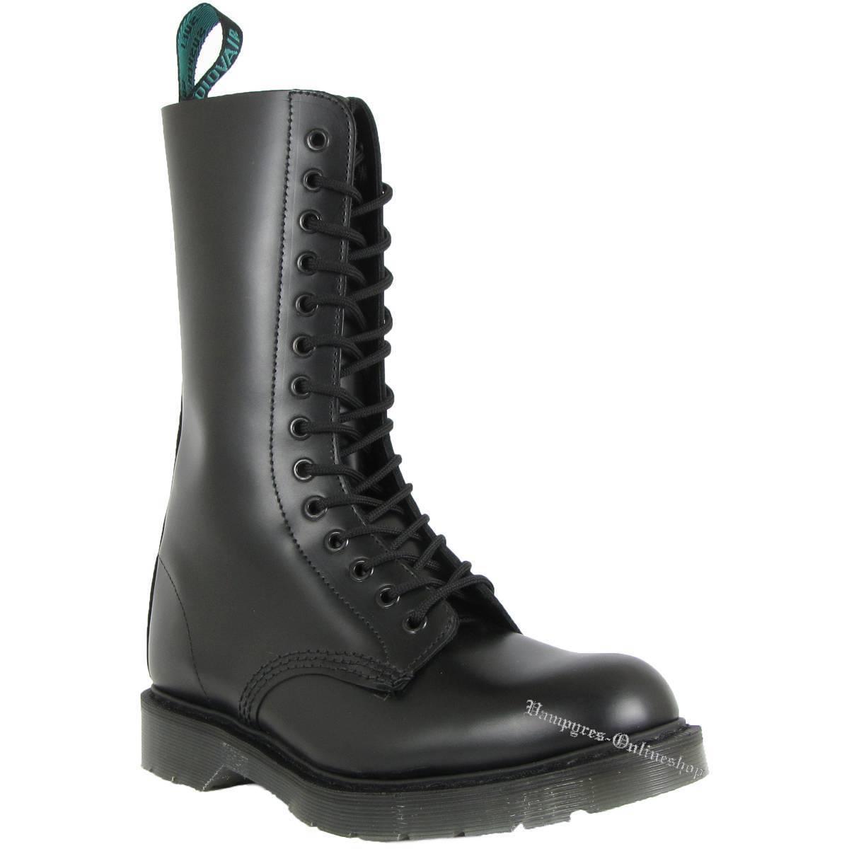 Solovair 14-Loch S14B-BK Schwarz Made in England Stiefel Leder Schuhe schwarz schwarz