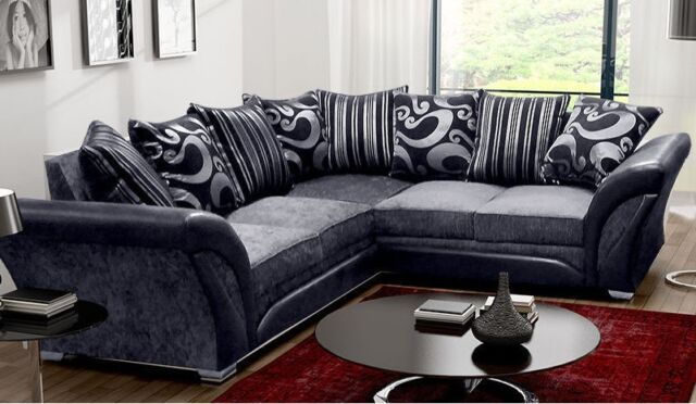 Fine Shannon 5 Seater Large Corner Sofa Black Grey Download Free Architecture Designs Embacsunscenecom