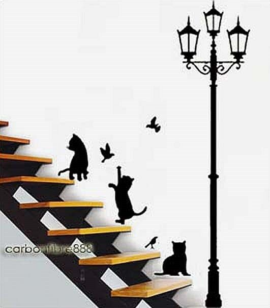 cats lamp post birds wall stickers art decals mural wallpaper decor