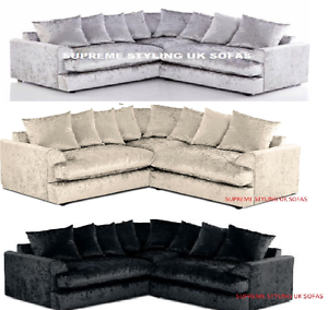 Image Is Loading Glitz Fab Ferguson Jamba Crushed Velvet Corner Sofa