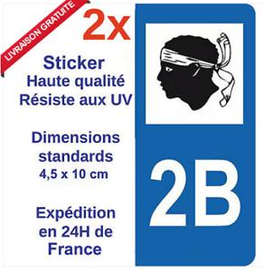 2-Autocollants-pour-plaque-immatriculation-sticker-departement-Adhesif-2B-Corse