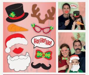 Christmas Party Photo Props Photo Booth Props Christmas Selfie Kit 10Pk Seasonal Holiday Selfie Kit Christmas Photo Props
