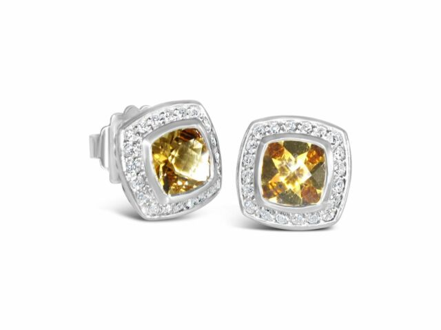 DAVID YURMAN 12MM PETITE ALBION CHAMPAGNE CITRINE DIAMOND EARRINGS