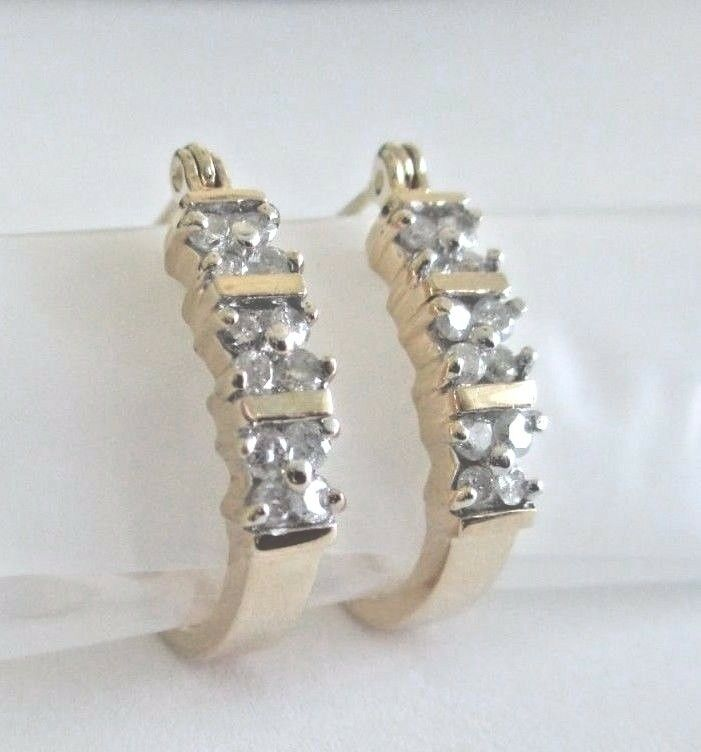 ^ 14K .585 YELLOW gold 1 4 CARAT DIAMOND HOOP EARRINGS HANGING OVAL SHAPE    YYY