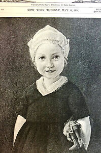 W-J-Baer-LITTLE-MISCHIEF-Sweet-Dutch-Girl-1891-Antique-Engraving-Print-Matted