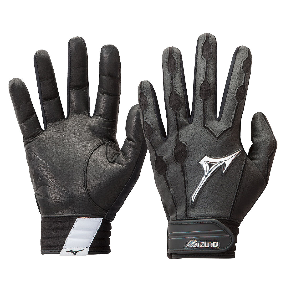 1 Pair Mizuno 330363 Covert Adult X-Large White//Forest Green Batting Gloves