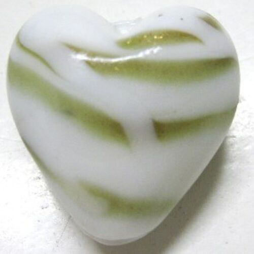 4 x gold tiger stripe white Lampwork Heart Glass Beads 20mm A3978