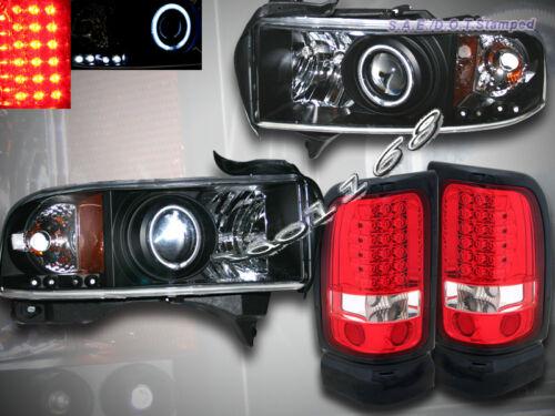 94-01 RAM 1500 2500 3500 CCFL HALO LED PROJECTOR HEADLIGHTS & LED TAIL LIGHTS