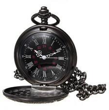 Antique Mechanical Skeleton Steampunk Mens Pocket Watch Open Case Chain Black