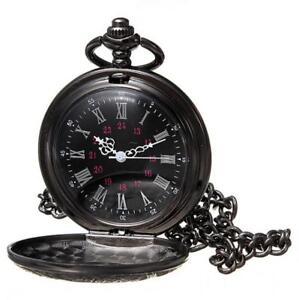 Antique-Mechanical-Skeleton-Steampunk-Mens-Pocket-Watch-Open-Case-Chain-Black