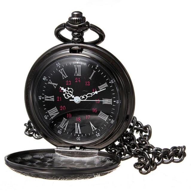 ab62973ed Antique Mechanical Skeleton Steampunk Mens Pocket Watch Open Case Chain  Black