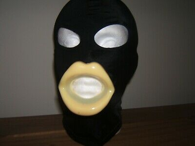 Black Spandex Gimp mask no eyes and Latex sissy lips in Red Black or Pink Size M