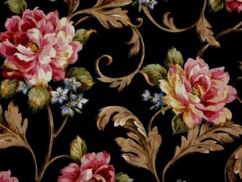 Mill Creek Floral EBONY Black Home Decor Curtain Drapery Sewing Fabric BTY