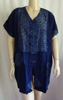 Plus Size Blue Funky Top Shirt Frog Closures Batik Artsy 1x 4x 6x